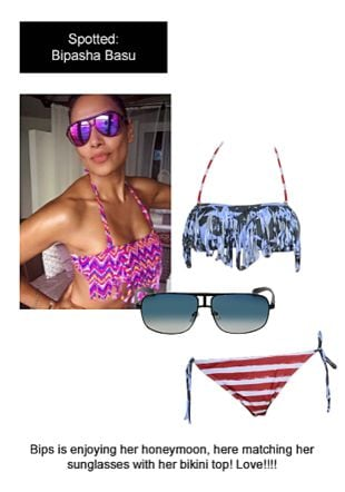 Multi Bikinis with Blue Eyewear. Online shopping look by Ojasvi