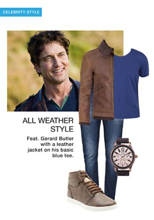 Brown Biker Jacket, Blue T Shirts, Others Jeans, Brown Sneakers with Black Chronograph Watches. Online shopping look by khushboo