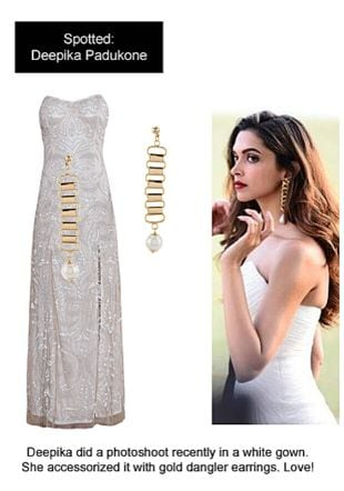 Beige Dresses with Gold Earrings. Online shopping look by Ojasvi