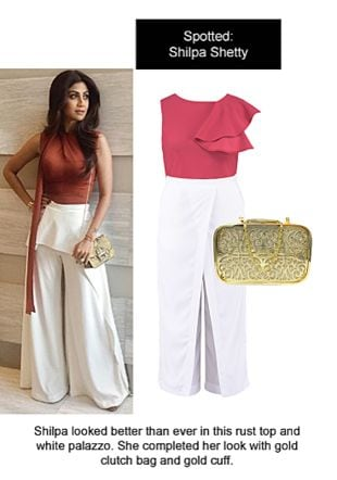 Red Tops, White Palazzos with Gold Clutches. Online shopping look by Ojasvi
