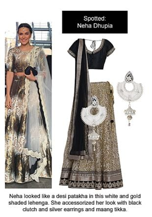 Gold Lehengas with Silver Earrings. Online shopping look by Ojasvi