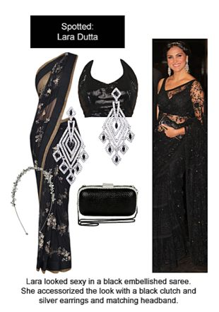 Black Sarees, Black Blouses, Silver Earrings with Silver . Online shopping look by Ojasvi
