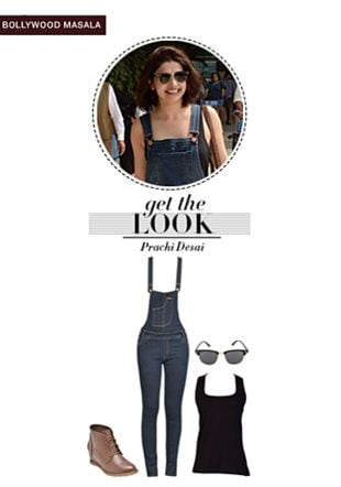 Blue Jumpsuits, Brown Boots, Black Sunglasses with Black Tees. Online shopping look by pavani