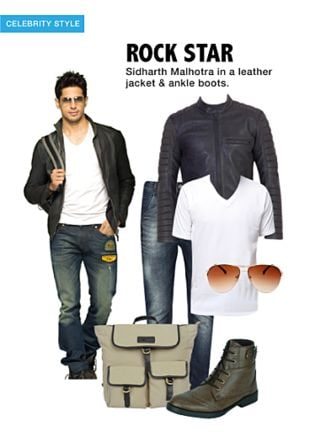Black Jackets, White T Shirts, Others Jeans, Brown Boots, Gold Sunglasses with Brown Backpacks. Online shopping look by khushboo