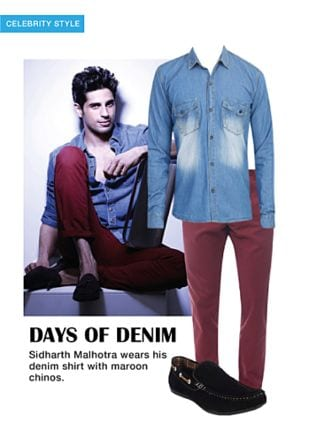 Red Casual Trousers, Black Loafers with Blue Casual Shirts. Online shopping look by khushboo