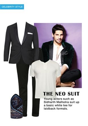 White T Shirts, Black Jackets, Black Casual Trousers with Black Pocket Squares. Online shopping look by khushboo