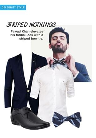 Blue Jackets, Blue Casual Shirts, Blue Bow And Ties with Black Formal Shoes. Online shopping look by khushboo