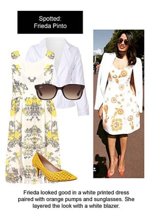 White Dresses, Yellow Pumps with Brown Sunglasses. Online shopping look by Ojasvi