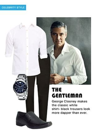 White Casual Shirts, Black Formal Shoes, Silver Analog Watches with Grey Casual Trousers. Online shopping look by smriti