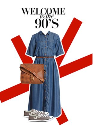 Grey Sports Shoes & Sneakers, Brown Sling Bags with Blue Dresses. Online shopping look by pavani