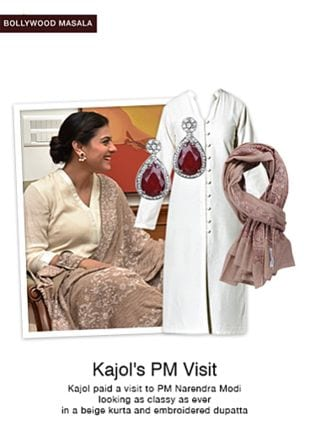 White Kurtas, Red Earrings with Brown Shawls. Online shopping look by smriti