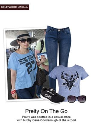 Blue Tees, Black Sunglasses, Black Sports Shoes with Blue Jeans. Online shopping look by smriti