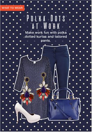 Blue Kurtas, Red Earrings, Blue Handbags, White Sandals with Blue Trousers. Online shopping look by khushboo