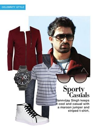 Grey T Shirts, White Sneakers, Brown Sunglasses, Black Analog Watches, Blue Jeans with Red Jackets. Online shopping look by monica