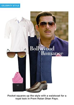 Blue Nehru/Ethic Jacket, Pink Pocket Squares, White Casual Shirts, Brown Formal Shoes, Brown Sunglasses with Blue Casual Trousers. Online shopping look by monica