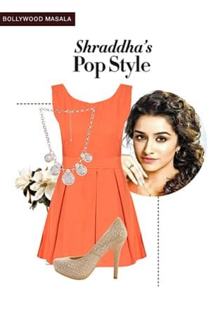 Orange Dresses, Silver Necklaces with Beige Pumps. Online shopping look by monica