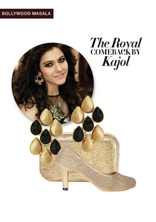 Black Earrings, Gold Pumps with Gold Clutches. Online shopping look by Rina Walia S