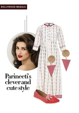 White Dresses, Pink Earrings with Red Loafers & Mocassins. Online shopping look by gurkiran