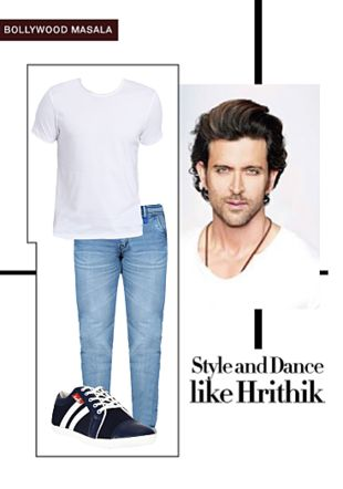 White T Shirts, Blue Jeans with Blue Sneakers. Online shopping look by gurkiran