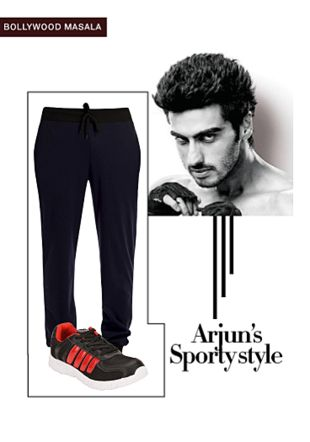 Blue Track Pants with Black Sport Shoes. Online shopping look by gurkiran