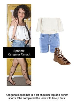 White Tops, Blue Shorts with Brown Sandals. Online shopping look by Ojasvi