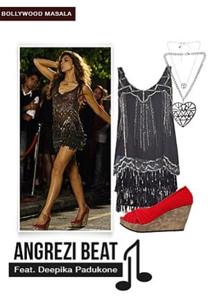 Red Wedges, Silver Necklaces, Silver Necklaces, Black Skirts with Black Tops. Online shopping look by Aaru