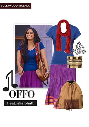 Blue Tees, Red Dupattas, Gold Bracelets, Brown Backpacks with Purple Skirts. Online shopping look by Aash