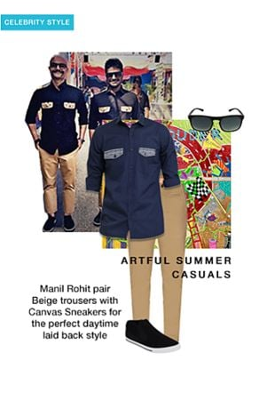 Blue Casual Shirts, Grey Sunglasses, Black Sneakers with Beige Casual Trousers. Online shopping look by ManilRohit