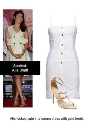White Dresses with Gold Sandals. Online shopping look by Ojasvi