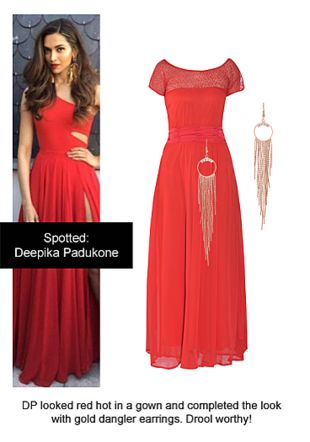 Red Dresses with Gold Earrings. Online shopping look by Ojasvi