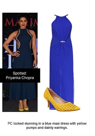 Blue Dresses with Yellow Pumps. Online shopping look by Ojasvi