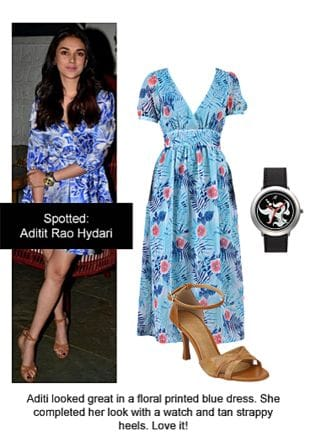 Blue Dresses, Brown Sandals with Black Wrist Watches. Online shopping look by Ojasvi