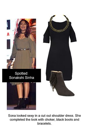 Black Dresses, Black Boots with Gold Necklaces. Online shopping look by Ojasvi