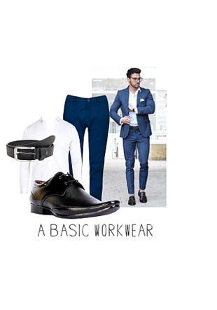 Blue Casual Trousers, Black Formal Shoes, White Casual Shirts with Black Belts. Online shopping look by Gargi