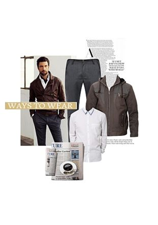 Brown Jackets, White Casual Shirts with Grey Casual Trousers. Online shopping look by Gargi