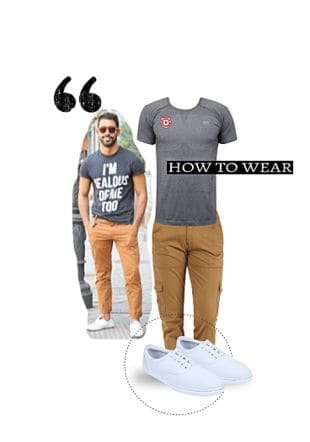 Grey T Shirts, Brown Casual Trousers, White Casual Shoes with White Casual Shoes. Online shopping look by Gargi