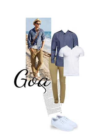 Others Casual Trousers, Blue Casual Shirts, White T Shirts, White Casual Shoes with White Casual Shoes. Online shopping look by Gargi