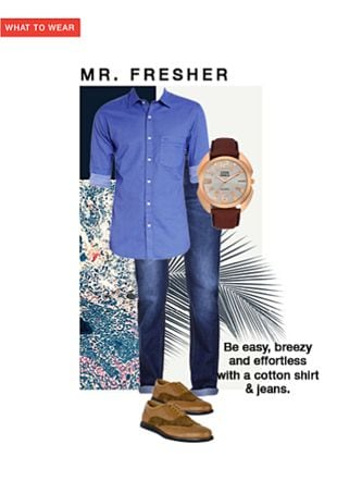 Others Jeans, Brown Formal Shoes, Brown Formal Shoes, Brown Analog Watches with Blue Casual Shirts. Online shopping look by shilpi
