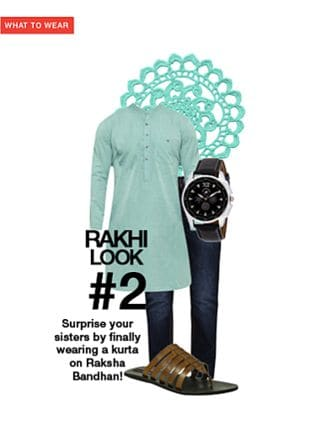 Brown Flip Flops, Black Watches, Blue Jeans with Green Kurtas. Online shopping look by gurkiran
