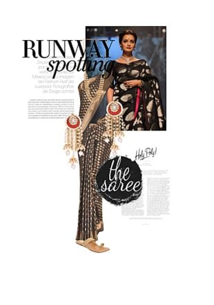 Black Sarees, Gold Earrings, Others Necklaces with Gold Sandals. Online shopping look by Tanaya