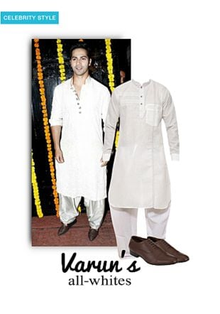 White Ethnic Wear Sets, Brown Formal Shoes with Brown Formal Shoes. Online shopping look by smriti
