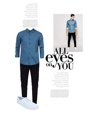 Blue Casual Shirts, Black Casual Trousers with White Casual Shoes. Online shopping look by Gargi