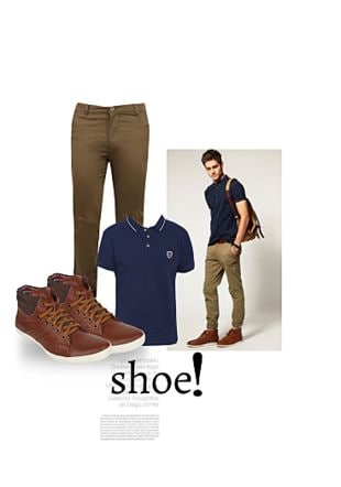 Blue T Shirts, Beige Casual Trousers, Brown Casual Shoes with Brown Casual Shoes. Online shopping look by Gargi