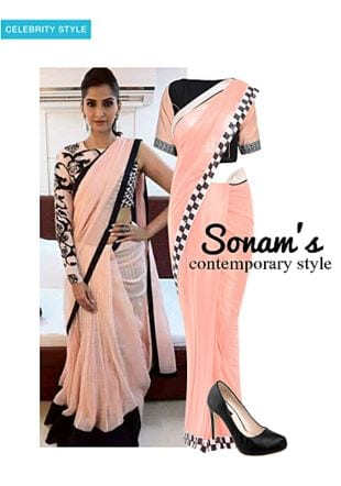 Pink Sarees, Black Blouses with Black Pumps. Online shopping look by gurkiran
