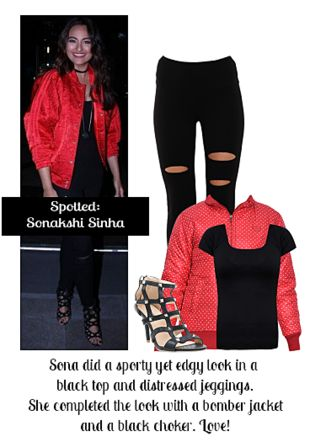 Black Tops, Black Jeggings, Black Sandals with Red Jackets. Online shopping look by Ojasvi
