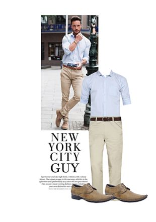 Blue Casual Shirts, Beige Casual Trousers, Brown Formal Shoes with Brown Formal Shoes. Online shopping look by Gargi
