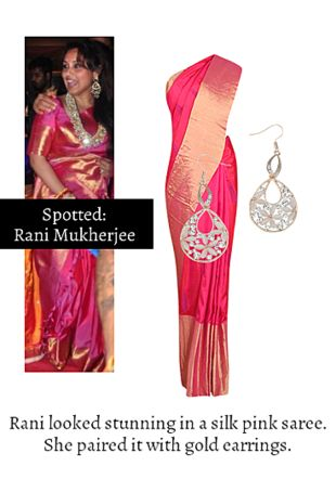 Pink Sarees with Gold Earrings. Online shopping look by Ojasvi