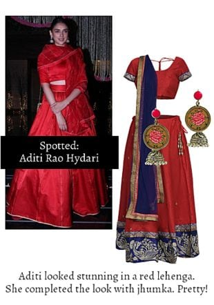 Red Lehengas with Silver Earrings. Online shopping look by Ojasvi