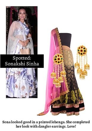 Multi Lehengas with Multi Earrings. Online shopping look by Ojasvi