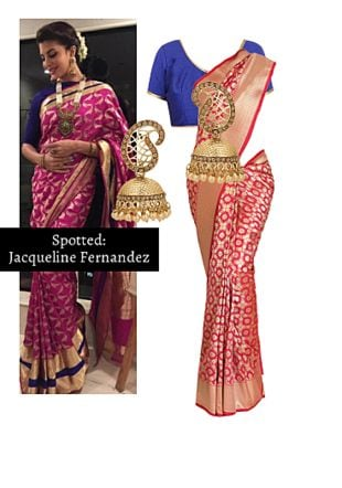 Pink Sarees, Blue Blouses with Gold Earrings. Online shopping look by Ojasvi